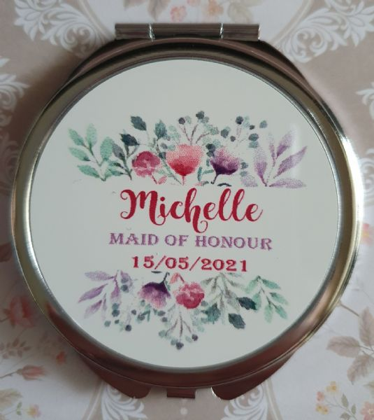 Personalised Wedding Compact Mirror - Design 3